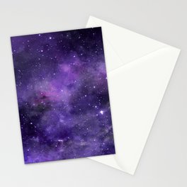 Purple Watercolor Space Pattern Stationery Cards