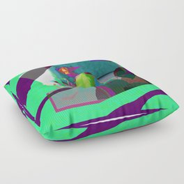 Woman in Blue Reading (remix) Floor Pillow
