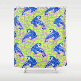 Neon Tigers and Water Lillies. Shower Curtain