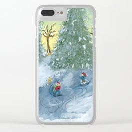 Ice Skaters Clear iPhone Case