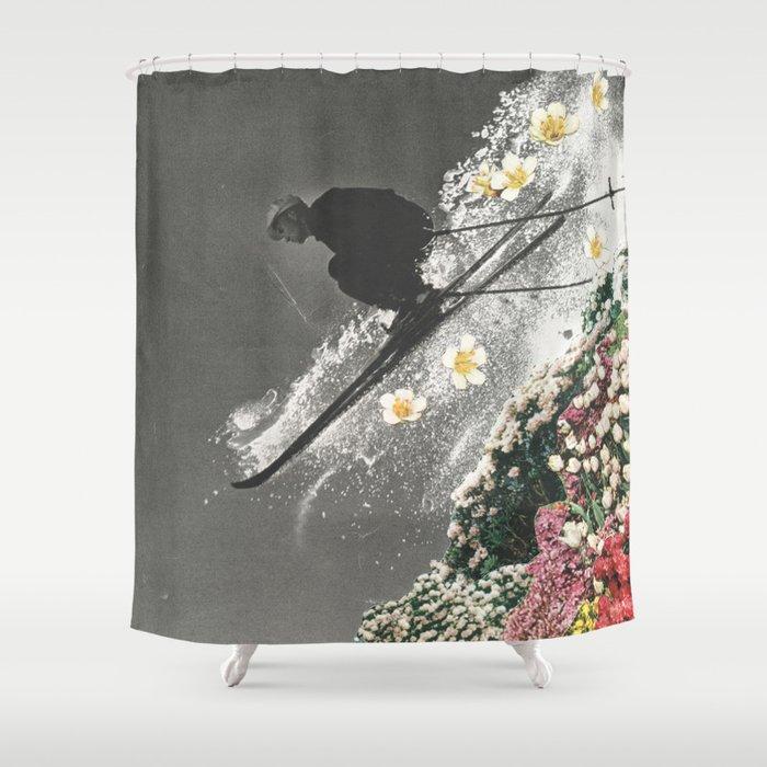 Spring Skiing Shower Curtain By Saraheisenlohr