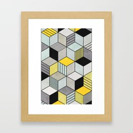 Colorful Concrete Cubes 2 - Yellow, Blue, Grey Framed Art Print