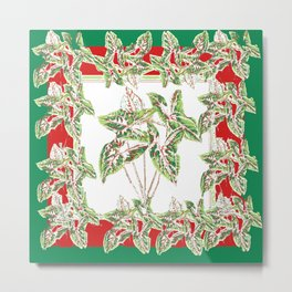 Green & Red Abstracted Foliage Art Metal Print