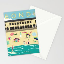 Bondi Beach Vintage Style Art Print Stationery Cards