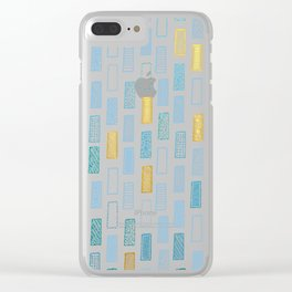 Rectangle Pattern - Gold and Blue Clear iPhone Case