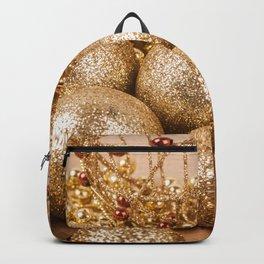 Holiday Christmas Christmas Ornaments Gold Backpack