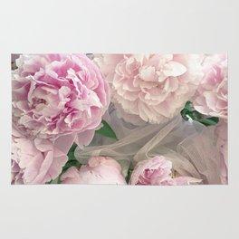 Shabby Chic Pastel Pink Peonies Wall Art - Peonies Home Decor Rug
