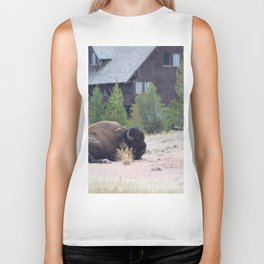 Buffalo in a Field with a Building in the background Biker Tank