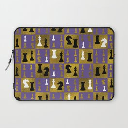 Violet Chessboard and Chess Pieces pattern Laptop Sleeve