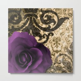 Purple Rose & Vintage Damask Metal Print