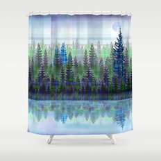 Nature Reflected Plaid Pine Forest Shower Curtain
