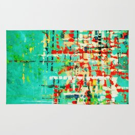 on my street -turquoise abstract Rug