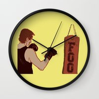 foo fighters Wall Clocks featuring Foo Fighter by Kramcox