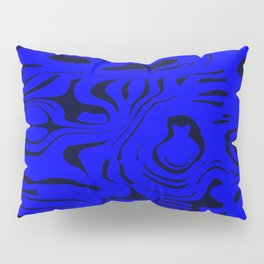 Juicy flowing spots of blue lines on black. Pillow Sham