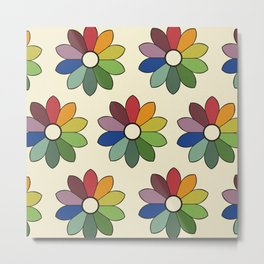 Flower pattern based on James Ward's Chromatic Circle Metal Print