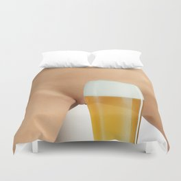 Beer and Naked Woman Duvet Cover