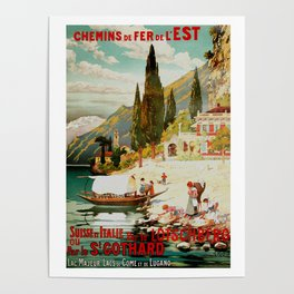 Switzerland and Italy Via St. Gotthard Travel Poster Poster