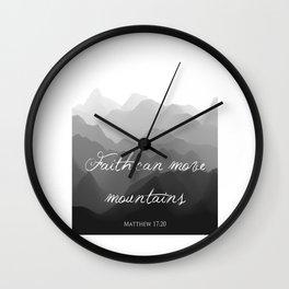 Faith Can Move Mountains Religious Bible Verse Art - Matthew 17:20 Wall Clock