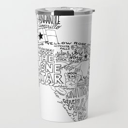 Texas - Hand Lettered Map Travel Mug