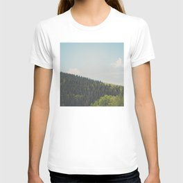 above the tree line in the Santa Fe National Forrest T-shirt