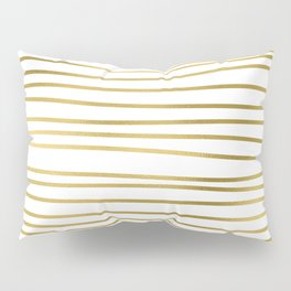 Small simply uneven luxury gold glitter stripes on clear white - horizontal pattern Pillow Sham