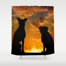 TWO DOGS AT SUNSET Shower Curtain