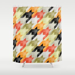 Multicolored origami houndstooth Shower Curtain