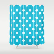 Bright Blue Lined Polka Dot Shower Curtain