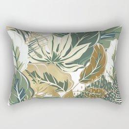Palms Print, Green and Gold, Botany Print Rectangular Pillow