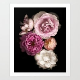Pink, Purple, and White Roses Art Print