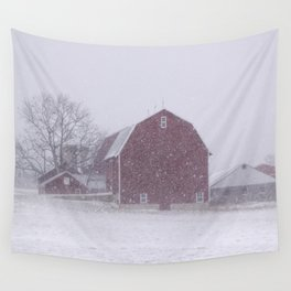 Red Barn in a Snowstorm Wall Tapestry