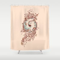 surrealism Shower Curtains featuring A Temporal Existence by Norman Duenas