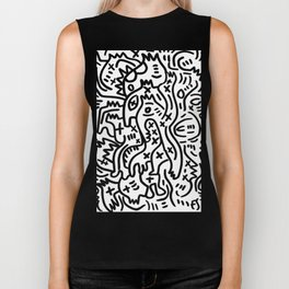 Graffiti Street Art Black and White Biker Tank