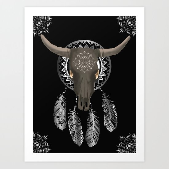 Buffalo skull dream catcher by tracielacey
