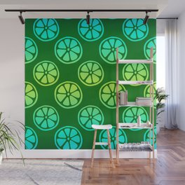 Tropical exotic moody neon blue and green grapefruit citrus slices decorative summer fruity dark green whimsical cute pattern design. Wall Mural