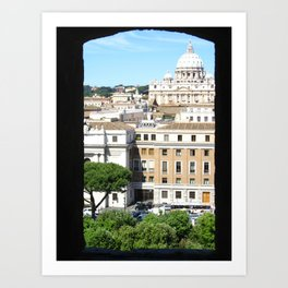 St. Peter's Through the Eyes of Castel St'Angelo - Italy Art Print