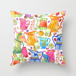 Pitchers & Fruits Throw Pillow