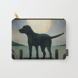 Black Dog Labrador Lake Dock Moon Cottage Cabin Carry-All Pouch