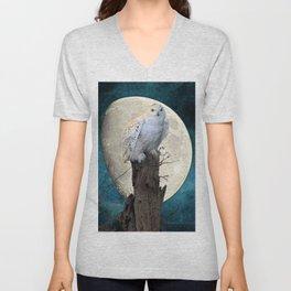 White Snowy Owl Bird Moon Blue A141 Unisex V-Neck