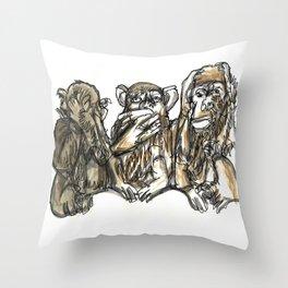 Three Monkeys Throw Pillow