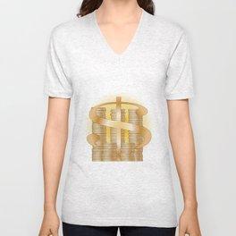 Piles of Coins Unisex V-Neck