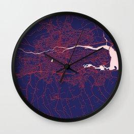 Cork, Ireland, Blue, White, City, Map Wall Clock
