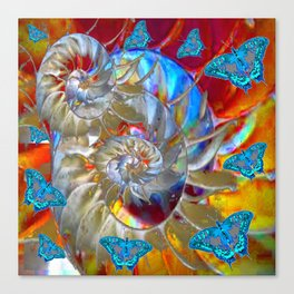 SURREAL MODERN ART BLUE BUTTERFLIES ABSTRACT Canvas Print