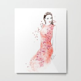 Fashion illustration embroidered dress in coral Metal Print