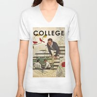 college V-neck T-shirts featuring Welcome to... College by Heather Landis