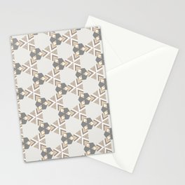 Neutral Grey Taupe Triange Pattern Design Stationery Cards