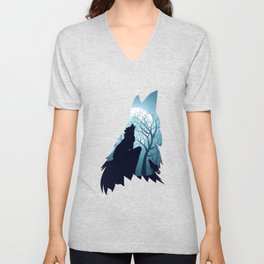 Blue moon and wolf howling Unisex V-Neck