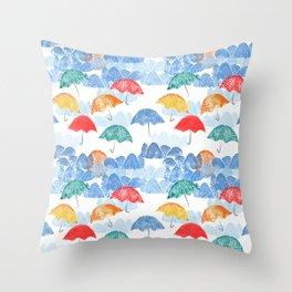 Umbrella Spring - by Kara Peters Throw Pillow