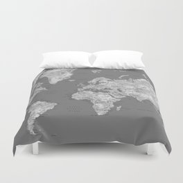 Dark gray watercolor world map with cities Duvet Cover