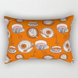 TEA CUPS - pattern - red, beige, pink, navy blue  Rectangular Pillow
